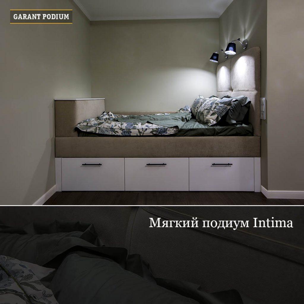 Мягкий подиум-кровать с ящиками